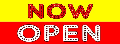 NOW OPEN banner sign red yellow