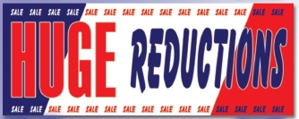 LARGE HUGE REDUCTIONS banner sign 5x15ft
