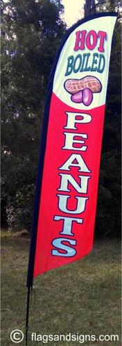 Fresh hot boiled peanuts red custom swooper banner sign flag