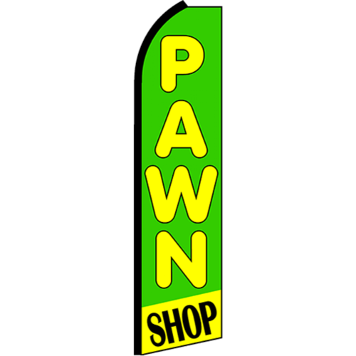Pawn shop swooper feather banner sign flag