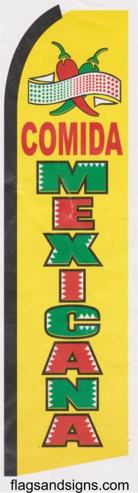 Comida Mexicana swooper feather banner sign flag yellow