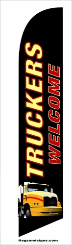 Truckers welcome swooper feather banner flag
