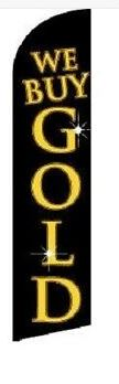 WE BUY GOLD black/gold swooper feather banner sign flag