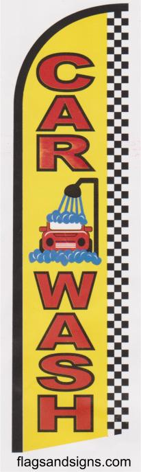 Car wash checkered super size swooper feather flag banner