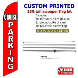 Cupcakes Banner Flag Feather Swooper Pole Kit Outdoor Businesses and Store Sign Display 15ft