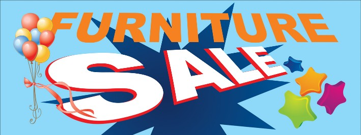 Furniture Sale Large 3x8ft Color Banner Sign White Blue Yellow