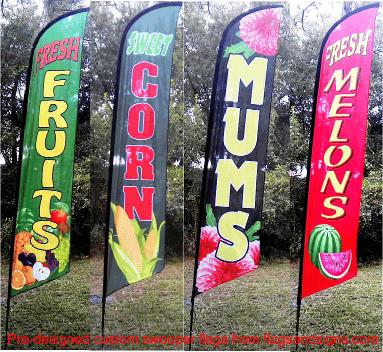 farms and markets   swooper feather flags signs banners  business promotion products