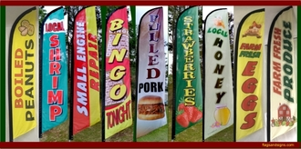 custom swooper feather flags from flagsandsigns.com